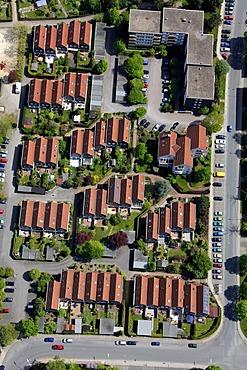 Aerial view, town houses, Suedstadt district, Hattingen, Ruhrgebiet region, North Rhine-Westphalia, Germany, Europe