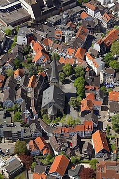 Aerial view, St. George church, downtown Hattingen, Ruhrgebiet region, North Rhine-Westphalia, Germany, Europe