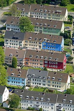 Aerial view, facade renovations at the Heinrich-Heine-Weg, Hattingen, Ruhrgebiet region, North Rhine-Westphalia, Germany, Europe