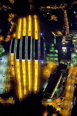 Aerial view, night, central station, Oberhausen, Ruhrgebiet region, North Rhine-Westphalia, Germany, Europe