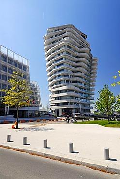 The apartment building Marco-Polo-Tower, Strandkai quay, Hafencity, Hamburg, Germany, Europe