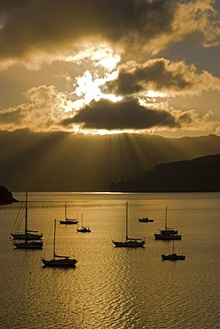 Sun beams over Akaroa Harbour and backlit boats in early morning light, Banks Peninsula, Canterbury region, South Island, New Zealand