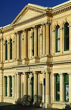 The facade of a typical limestone building in downtown Oamaru, South Island, New Zealand