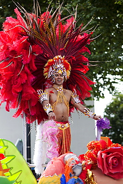 Festival participant on float in the Notting Hill Carnival, Notting Hill, London, England, United Kingdom, Europe