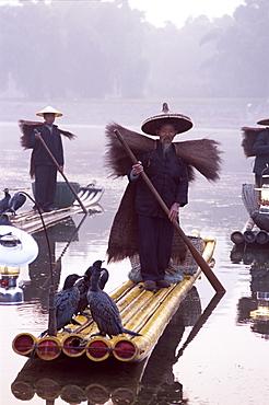 Cormorant fishermen on bamboo rafts on the Li River, Guilin, Yangshou, Guangxi Province, China, Asia