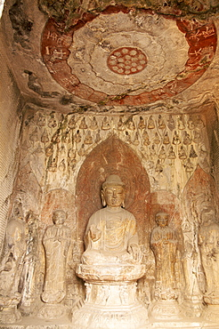 Buddha statue, Binyang Caves, Longmen Buddhist Caves dating from the Tang Dynasty, UNESCO World Heritage Site, Luoyang, Henan Province, China, Asia
