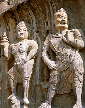 Bodhisattva and Guardian statues, Longmen Buddhist Caves, Ancestor Worshipping Temple dating from the Tang Dynasty, UNESCO World Heritage Site, Luoyang, Henan Province, China, Asia