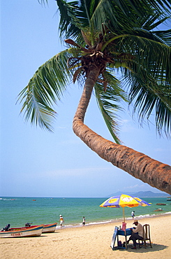 Beach scene at Tianya-Haijiao Tourist Zone, Sanya, Hainan Island, China, Asia