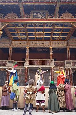 Interior of Shakespeare's Globe Theatre, Southwark, London, England, United Kingdom, Europe