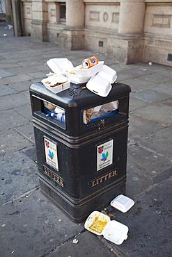 Overflowing rubbish bin, Durham, England, United Kingdom, Europe
