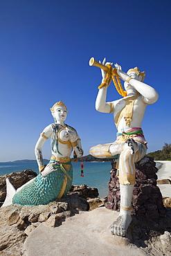 Flute player and mermaid statues, Saikaew Beach, Ko Samet, Thailand, Southeast Asia, Asia