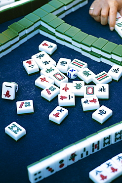 Detail of Mahjong blocks, Chinese gambling game, Beijing, China, Asia