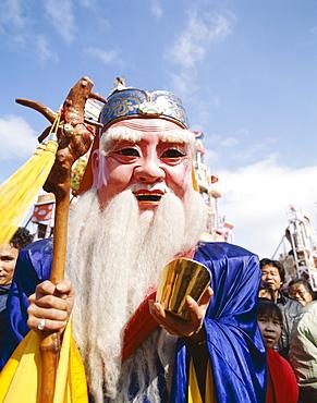 Chinese Lucky God mask of the god of longevity, Shanghai, China, Asia