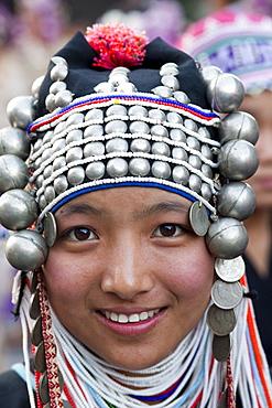 Akha hilltribe girl, Chiang Mai Flower Festival, Chiang Mai, Thailand, Southeast Asia, Asia