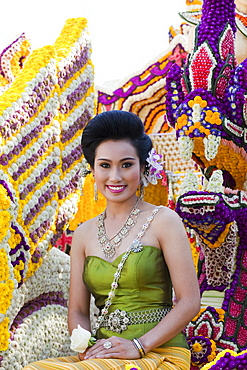 Young woman on floral float, Chiang Mai Flower Festival Chiang Mai, Thailand, Southeast Asia, Asia