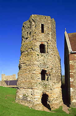 The Roman Lighthouse, Dover Castle, Dover, Kent, England, United Kingdom, Europe