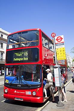 Passengers boarding double decker bus, London, England, United Kingdom, Europe