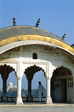 View of Taj Mahal from Agra Fort, UNESCO World Heritage Site, Agra, Uttar Pradesh, India, Asia