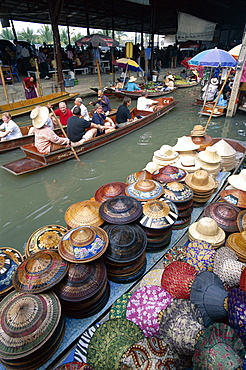 Tourists on canal boat tour, Floating market at Damnoen Saduak, Bangkok, Thailand, Southeast Asia, Asia