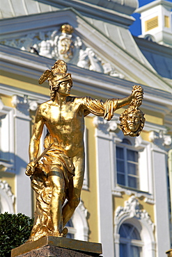 Gilded bronze sculpture, Peterhof Palace (Petrodvorets Palace), The Great Palace, St. Petersburg, Russia, Europe