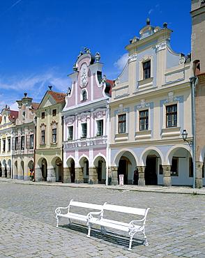 Bohemian architecture, Zacharia Hradec Square, Telc, UNESCO World Heritage Site, South Moravia, Czech Republic, Europe