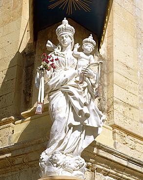 Madonna statue at the Carmelite Church, Mdina, Malta, Europe