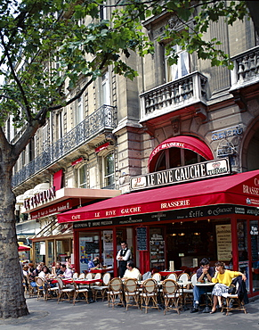 Outdoor cafe and brasserie, The Left Bank (Rive Gauche), Paris, France, Europe