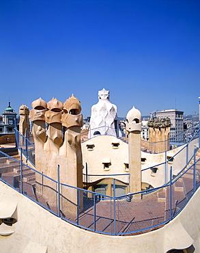 Rooftop and chimneys, Casa Mila (La Pedrera), by Antoni Gaudi, UNESCO World Heritage Site, Barcelona, Catalonia, Spain, Europe