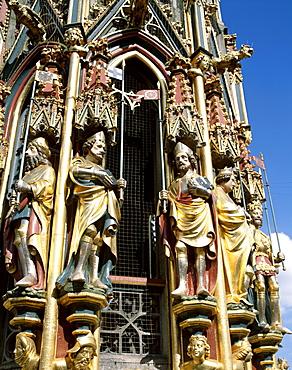 Beautiful Fountain (Schoner Brunnen), Market Square (Hauptmarkt), Nuremberg, Bavaria, Franconia, Germany, Europe
