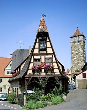 Old Blacksmith's building, Rothenburg ob der Tauber, Bavaria, Romantic Road (Romantische Strasse), Germany, Europe