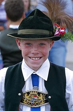 Boy in Bavarian costume, Bavarian Festival, Rosenheim, Bavaria, Germany, Europe
