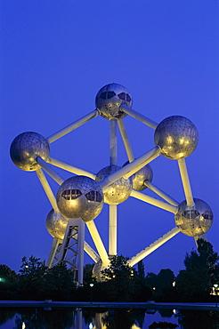 Atomium at night, Brussels, Belgium, Europe