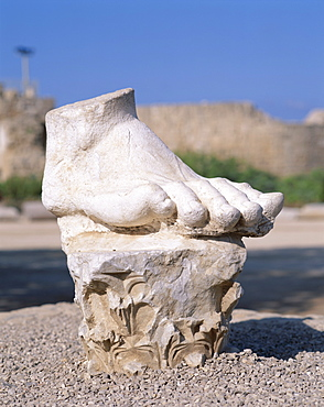 Foot fragment from a statue in the Crusader city ruins, Caesarea, Israel, Middle East