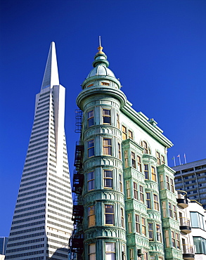 Transamerica Pyramid and Columbus Tower, San Francisco, California, United States of America, North America