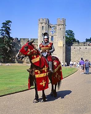 Warwick Castle and knight on horseback, Warwick, Warwickshire, England, United Kingdom, Europe