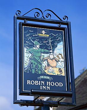 Robin Hood Inn sign, Nottingham, Nottinghamshire, England, United Kingdom, Europe