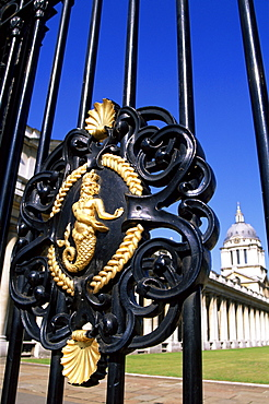 Detail of the Royal Gate, Royal Naval College, Greenwich, London, England, United Kingdom, Europe