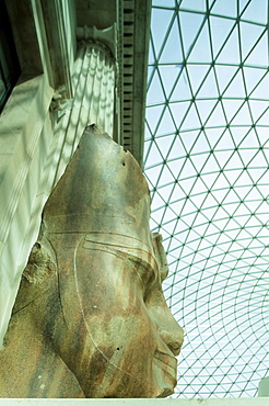 Head of the Egyptian pharaoh Amenhotep III in the Great Court, British Museum, Bloomsbury, London, England, United Kingdom, Europe