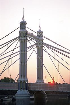 Albert Bridge at sunrise, Chelsea, London, England, United Kingdom, Europe