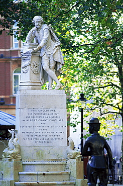 Charlie Chaplin statue and Shakespeare statue, Leicester Square, London, England, United Kingdom, Europe