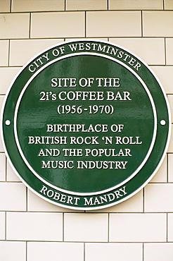 The Birthplace of British Rock'n Roll, 2i's Coffee Bar plaque, Soho, London, England, United Kingdom, Europe