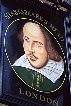 Shakespeare's Head pub sign, London, England, United Kingdom, Europe