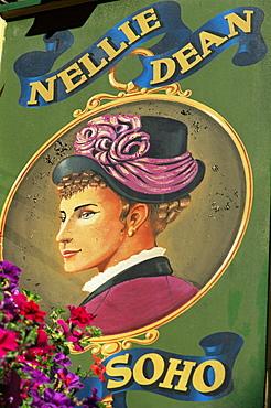 The Nellie Dean of Soho pub sign, London, England, United Kingdom, Europe