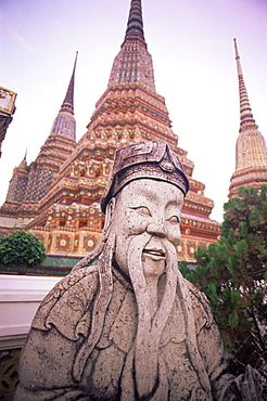 Statue and stupas in Wat Po, Bangkok, Thailand, Southeast Asia, Asia