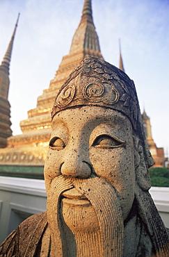 Statue and stupas, Wat Pho, Bangkok, Thailand, Southeast Asia, Asia