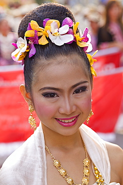 Portrait of girl in traditional Thai costume at the Chiang Mai Flower Festival, Chiang Mai, Thailand, Southeast Asia, Asia