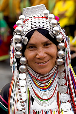 Akha hilltribe woman wearing traditional silver headpiece and costume, Golden Triangle, Thailand, Southeast Asia, Asia