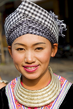 Hmong hilltribe woman in traditional costume, Golden Triangle, Thailand, Southeast Asia, Asia