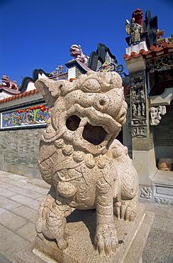 Lion statue at Pak Tai Temple, Cheung Chau Island, Hong Kong, China, Asia