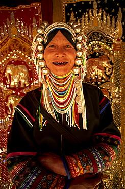 Akha hilltribe woman wearing traditional silver headpiece, Chiang Rai, Golden Triangle, Thailand, Southeast Asia, Asia